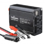 300W Power Inverter DC 12V to 110V AC Car Converter with 4.2A Dual USB Car Adapter and 2 AC Outlets Converter